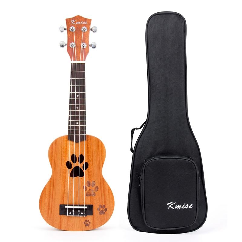 Kmise Soprano Ukulele Ukelele Uke Hawaii Guitar 12 Frets 21 Inch Mahogany with Bag for Beginner