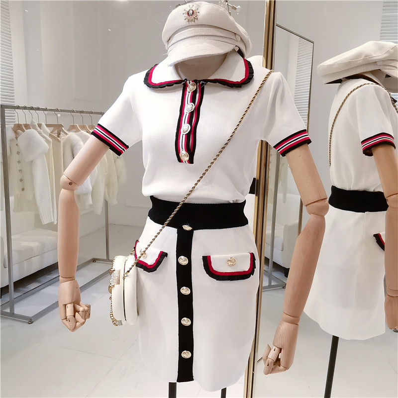 CBAFU designer runway brand women's set short sleeve knitted tops skirt suit women 2 piece set female knitted suit set  D419