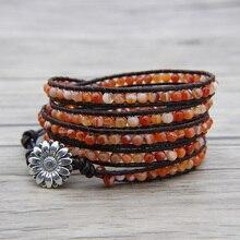 Orange beaded leather wrap bracelet BOHO Orange onyx bead bracelet bead wrap bracelet leather wrap Orange Jewelry цена и фото
