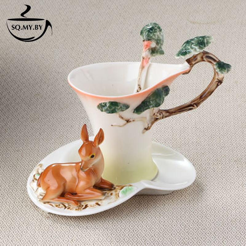 2016 New Arrival Deer Coffee Cup Colored Enamel Porcelain Bone China Tea Mug With Saucer And