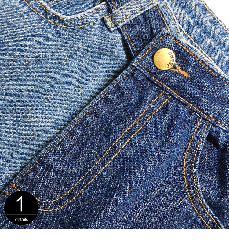 [EAM] New Spring 19 Fashion High Waist Patchwork Hit Color Detachable Blue Jeans Straight Denim Pants Women SC08 8