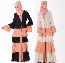 UAE Abaya Dubai Kaftan Malaysia Ruffle Pleated Chiffon Kimono Cardigan Muslim Hijab Dress Women Turkish Islamic Clothing