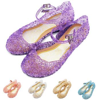 Dzieci dziewczęce sandały dziecięce miękkie skórzane buty z kryształkami dziewczynka urodziny Cosplay księżniczka Sofia Ana Elza buty tanie i dobre opinie 7-12m 13-24m 25-36m 3-6y 7-12y Cztery pory roku Kobiet Miękka skóra Płaskie Obcasy Pasek klamra Pasuje prawda na wymiar weź swój normalny rozmiar