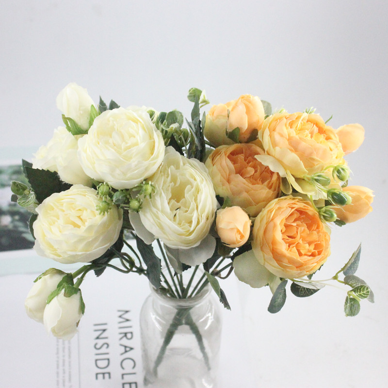 9 head 1PCS beautiful Philippe Persian rose peony rayon spring home wedding party decoration fake flower factory in Artificial Dried Flowers from Home Garden