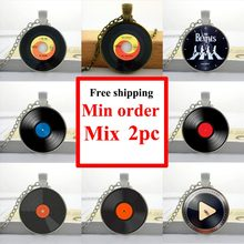 2016 Glass Dome Pendant For Jewelry Record Necklace Vintage Vinyl Record Design Pendant Glass Picture Pendant HZ1(China)