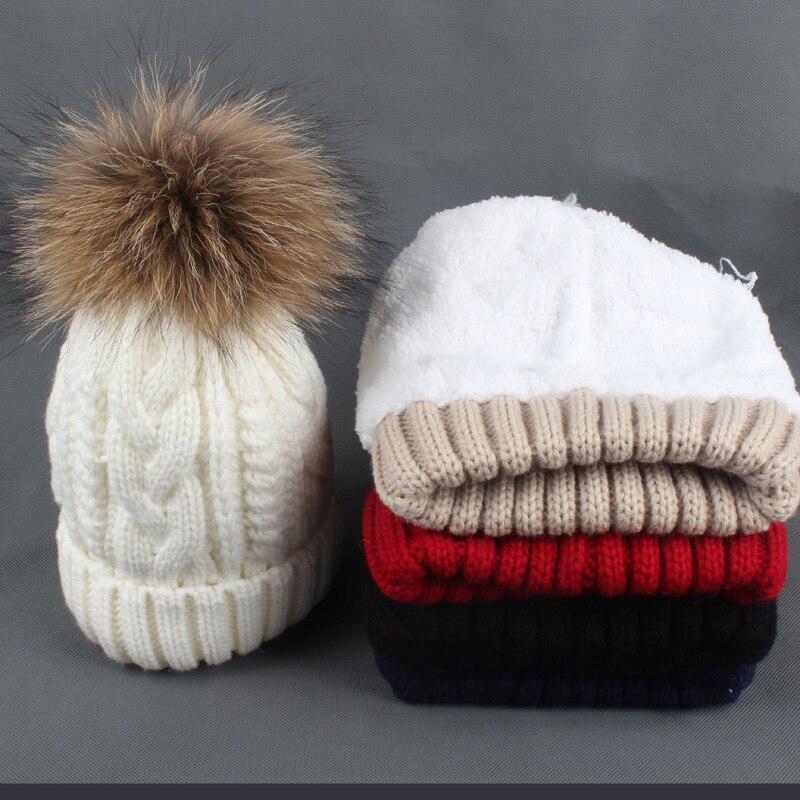 2018 Children Warm Velvet Fleece Inside Beanies Winter Hats For Kids Real Raccoon Fur Pompom Hat Boys Girls Cap Skullies in Men 39 s Skullies amp Beanies from Apparel Accessories