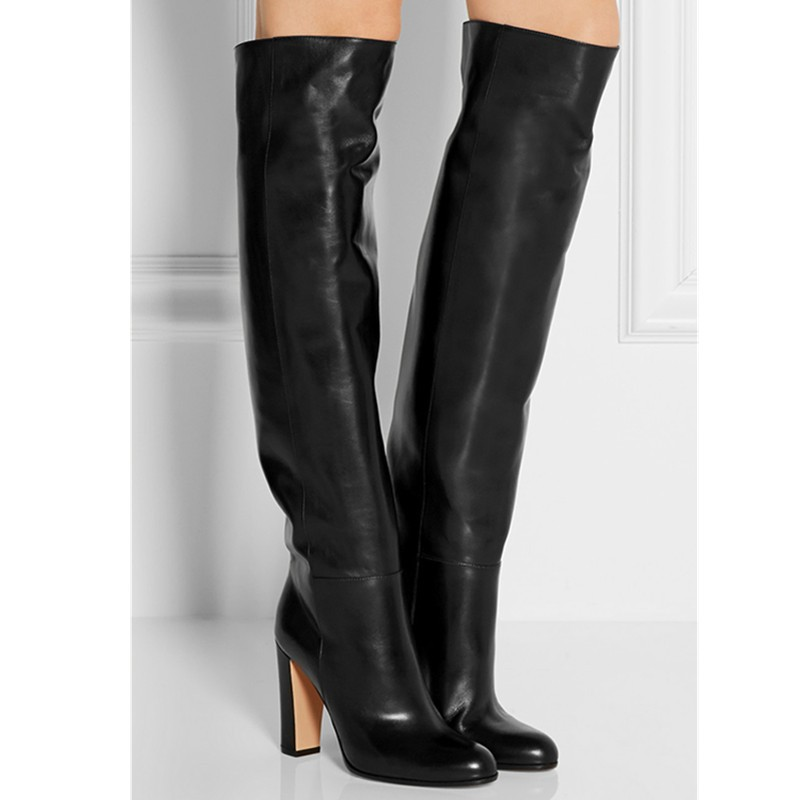 Fall Winter Women Black Leather Boots Chunky High Heels Knee High Botas Mujer Fashion Designer Slip On Women Boots Shoes Woman new women knee high boots black and white sexy low heels pu leather autumn winter shoes round flat platform boots botas mujer