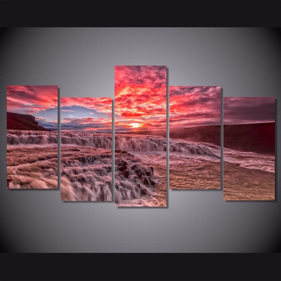 5 Teile/satz Gerahmte HD Gedruckt Sonnenuntergang Rote Wolken Welle ...