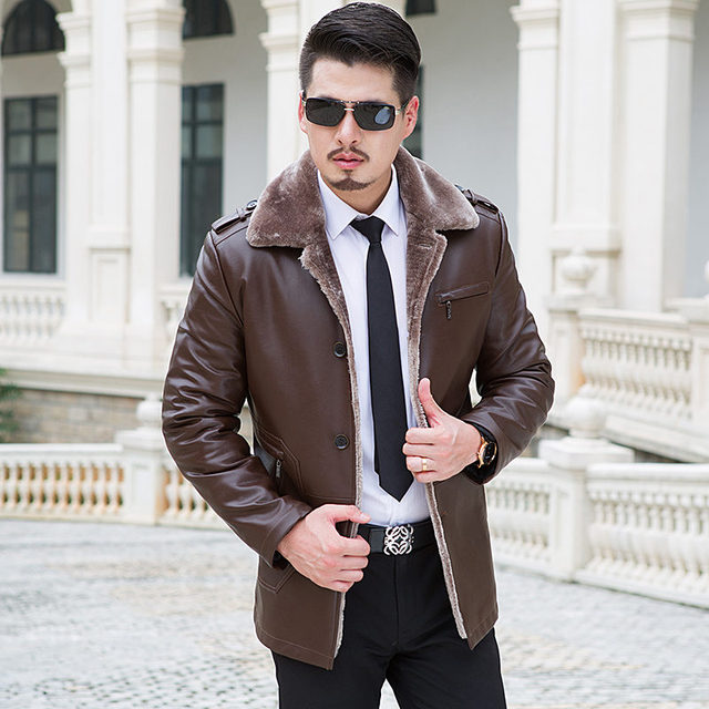 2015 Winter Import Pipi Sheep Garment Leather Jacket Male Fur Coat Lapel Integrated Thermal Long Leather In The Leather