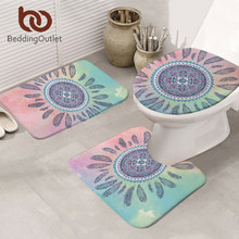 BeddingOutlet Mandala Bath Mat 3pcs Absorbent Non-slip Bohemian Feather Mat Set for Bathroom Toilet Seat Cover Pink and Blue Rug(China)