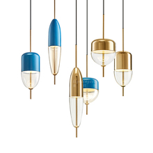chandeliers pendants chandelier retro Postmodern gold blue water glass fashion designer bedroom simple restaurant led Chandelier
