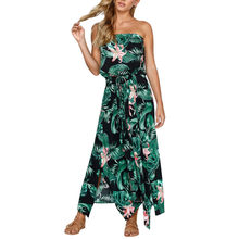 Women dress Summer Sexy Womens Floral Leaf Print Off Shouder Dress Ladies Summer Beach Lace Up Dress 2018(China)
