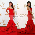 Nina Dobrev Red Dress 2016 Emmy Awards Celebrity Dresses Sweetheart Backless Ruffles Mermaid Long Formal Evening Dress vestidos