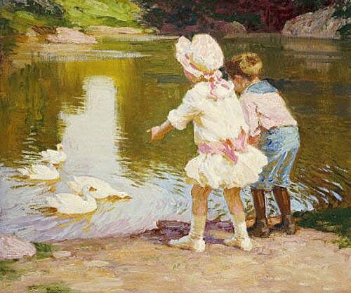 Impresionante Pintura Al Oleo Ninos Jugando Por El Lago Con Blanco