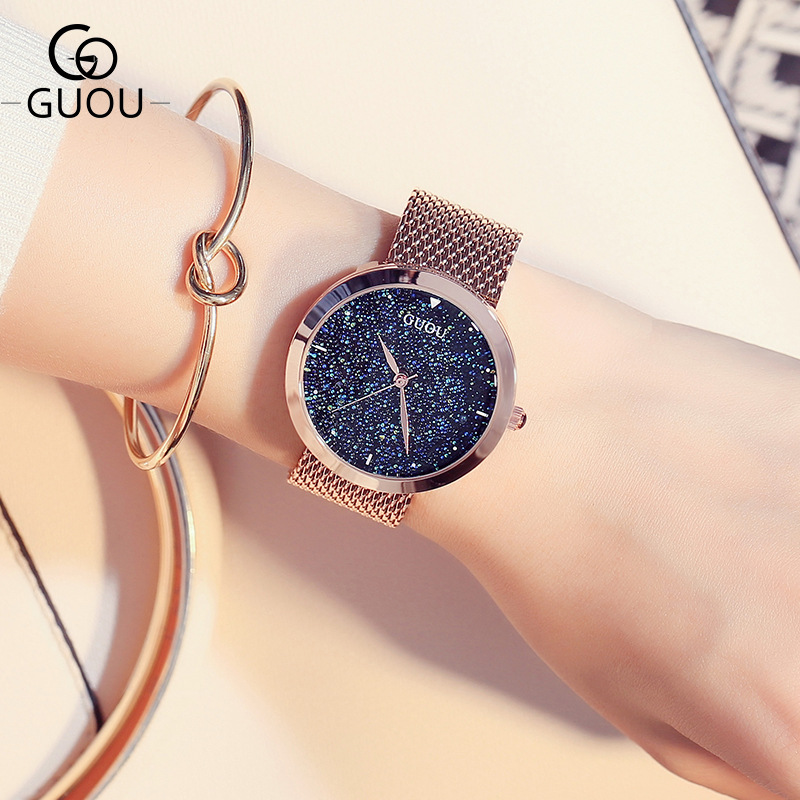 Luxury GUOU Pretty Full Stainless Steel Quartz Wristwatches Wrist Watch Bracelet for Women Ladies Girls Rose Gold OP001 ободки pretty mania ободок