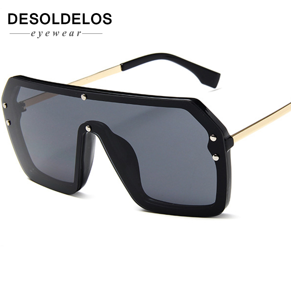 2019 One Piece Sunglasses Square Men Half Metal Summer Style Oversized Sun Glasses for Women Large Candy Colors