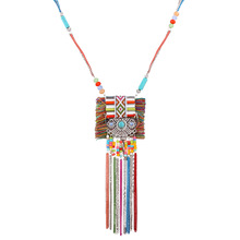 Women Boho Necklace Female Retro Long Pendant Tassel Jewelry Statement Necklace Sweater Maxi Necklace Collier Femme Collares