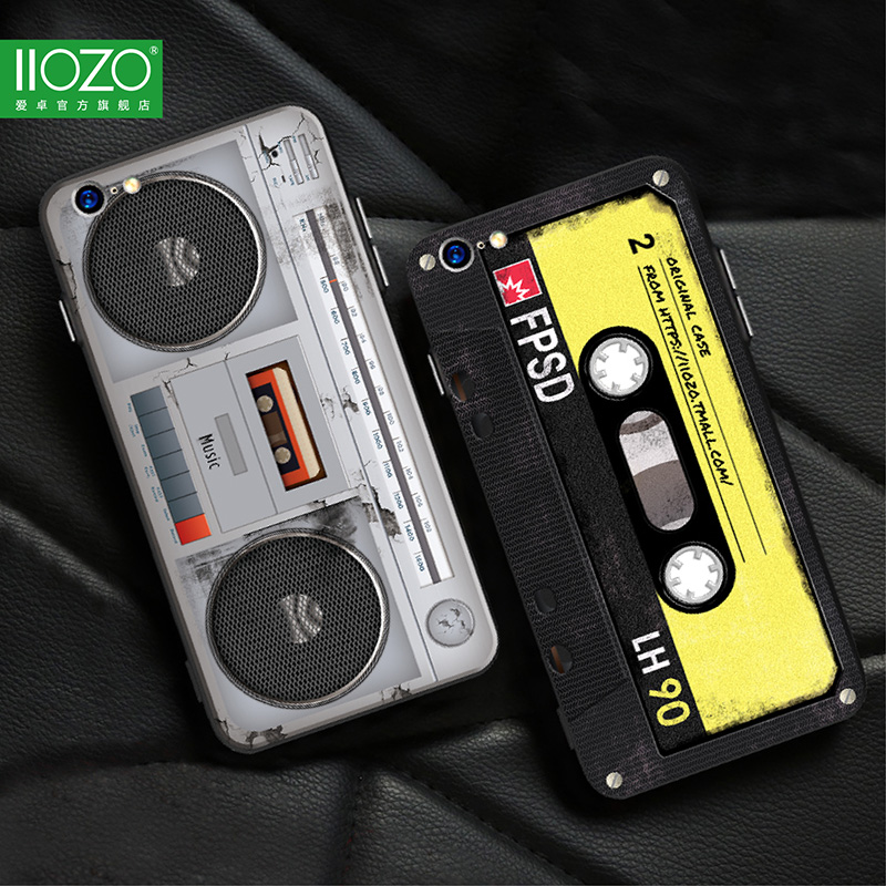 Funda de teléfono para iphone 6 7 8 plus Cool 3D Old Styles Tape Radio Estuches originales Estuche rígido para iphone 6 6s 7 Plus Funda bolsa