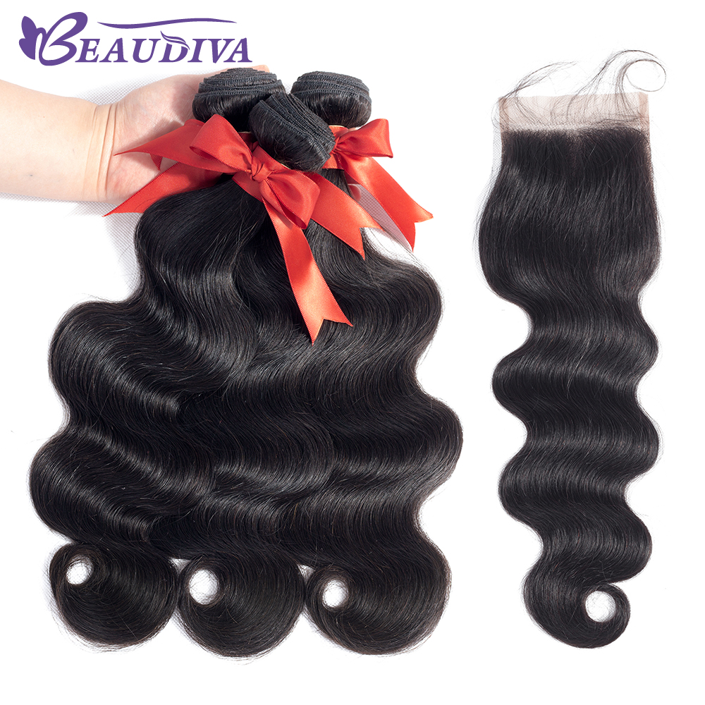 Beaudiva Malaysian Body Wave With Closure 4 4 Wavy Baby Hair Swiss Lace Closure With 3