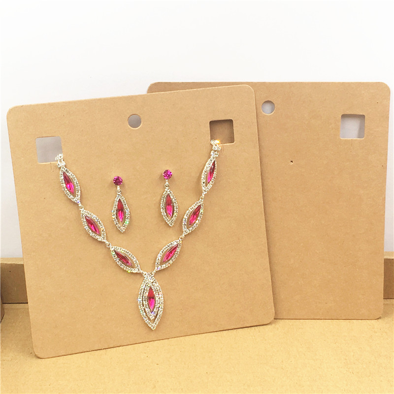 12Pcs/Lot Brown Kraft Paper Cardboard For Necklace&Earring Displays Cards Fashion Jewelry Pendant Show Packaging Card 15x15cm