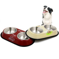 Pet Dog Bowl Food Water Dish Stainless Steel Pets Feeder Double Bowls Non Slip Feeding Tray