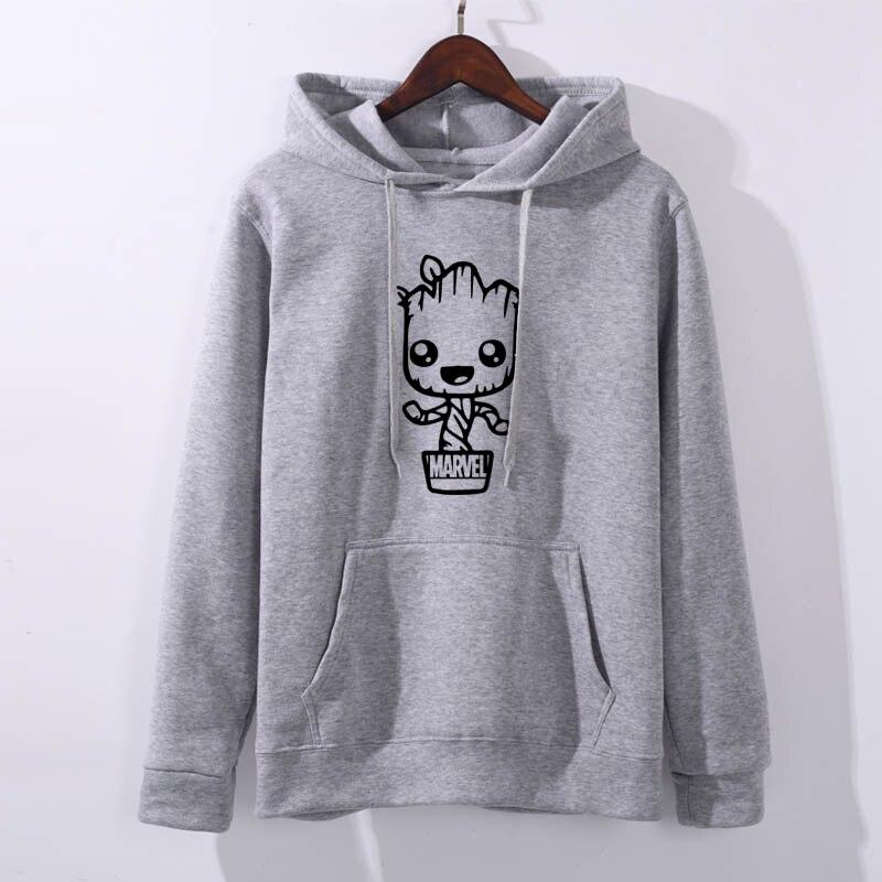 Fashion Female Long Sleeve Hoodie Pullover Sweatshir2019 Groot MARVEL Letter Print Women's Sweatshirt Tops Ladies Clothes