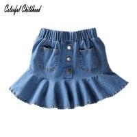 Kızlar için 2017 yeni mini etekler tutu 2 t 3 t 4 t 5 t 6 t kısa denim etekler çocuklar jean tutu etek çocuk elbise pettiskirt