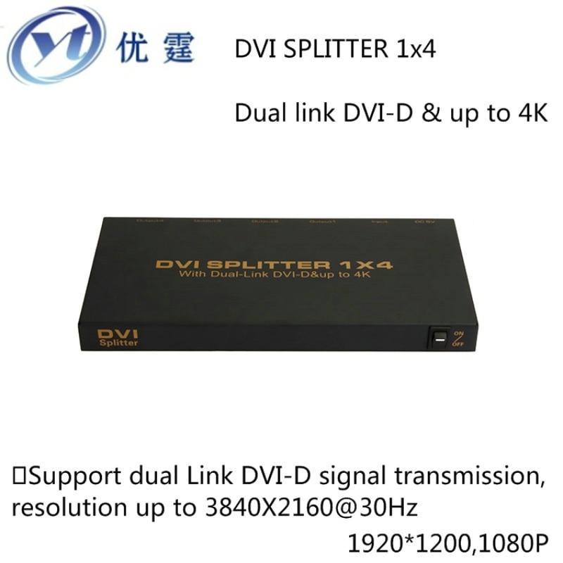 YOUTING DVISP004M1 4kx2k Dual link DVI-D DVI Splitter 1X4 DVI Distributor 1  input and 4 DVI output 1920*1200 16 port dvi splitter 1 input 16 output distributor duplicator 1 computer connects 16 monitors 1080p edid mt viki maituo dv16h