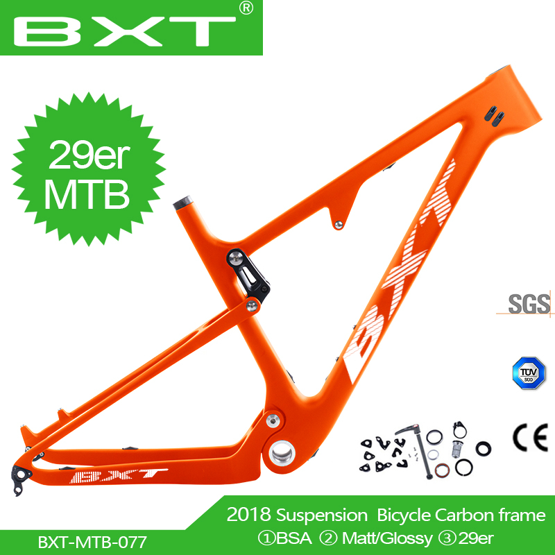 Boost 29er Suspensão Total De Carbono Quadro de Bicicleta de Montanha em Choque 165*38mm de curso 100 milímetros Max tamanho Do Pneu 2.3 29er BSA Quadro MTB