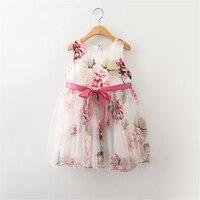 4p159.6 4pcs lot Baby Girls Dress 2017 New flower dresses fashion toddler girl clothing wholesale baby boutique clothing