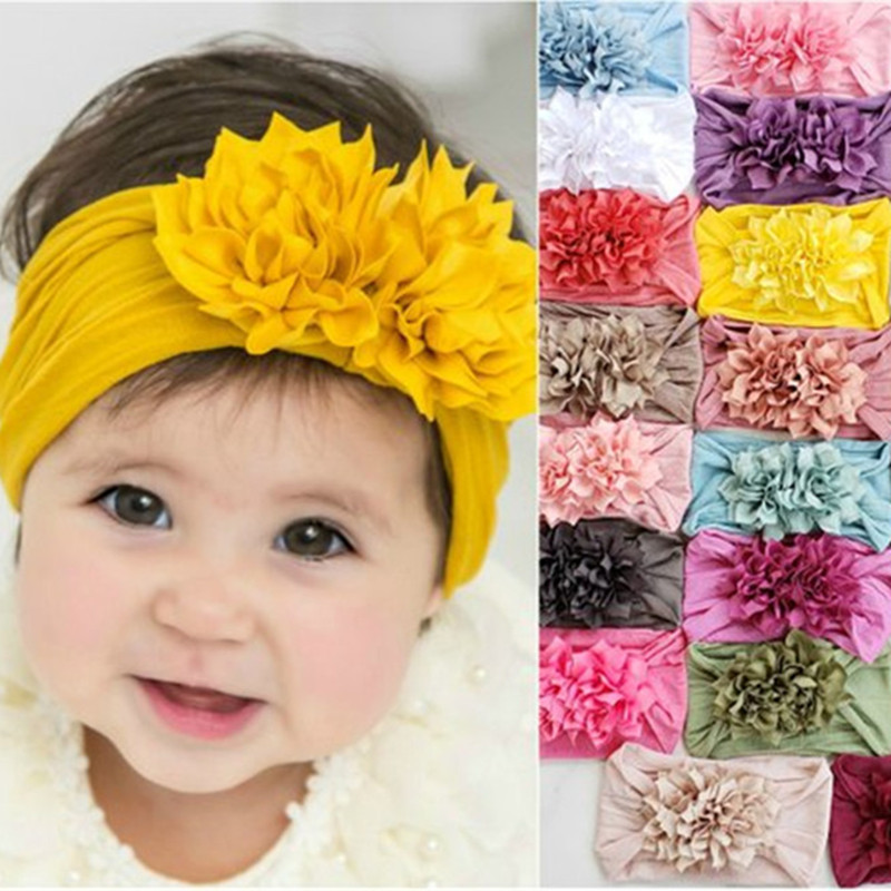 Nylon Headband With Chiffon Flowers Baby Girls Headbands Infant Hair Flower Wide Soft Hairband For Kids Headwear Children Turban