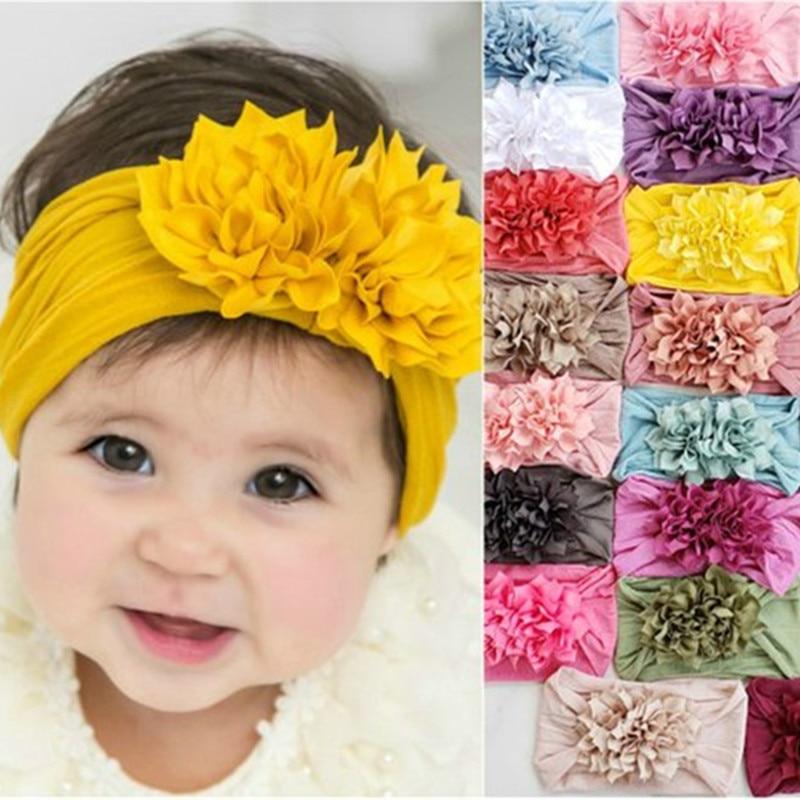 Nylon Headband With Chiffon Flowers Baby Girls Headbands