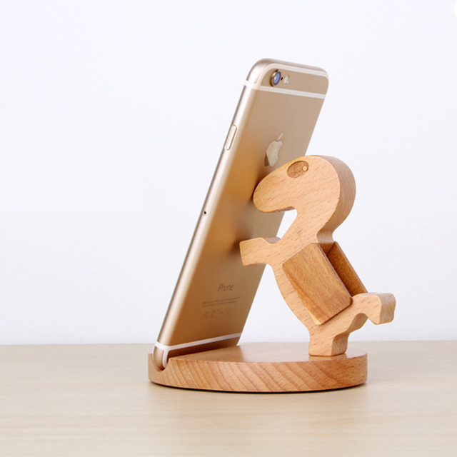 Imeaning universal cute wooden phone stand for