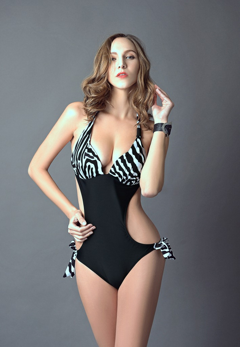 7a3607f126d High neck push up monokini cut out one piece swimsuit sexy retro polka dot  swimwear halter bathing suit femal brazilian triquini