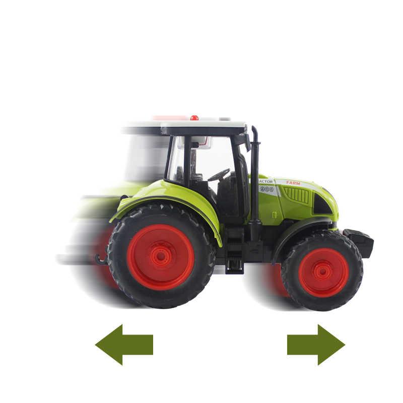 Diecast Mainan Kendaraan Simulasi Traktor Petani 1:16 Tarik Kembali dengan Lampu & Musik Transportasi Truk Model Hadiah Mainan untuk Anak-anak