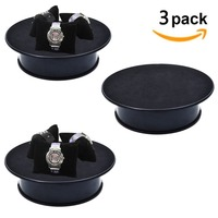 3 Pieces Black Velvet Top Electric Motorized Rotating Display Turntable For Model Jewelry Hobby Collectible Home