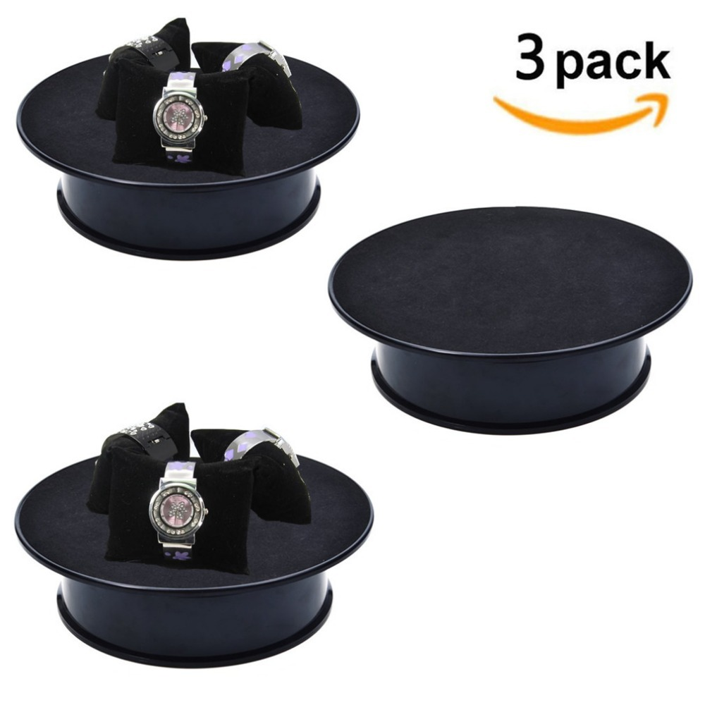 8inch Black Velvet Top Electric Motorized Rotating Display Turntable For Model Jewelry Hobby Collectible Home Battery Rotation