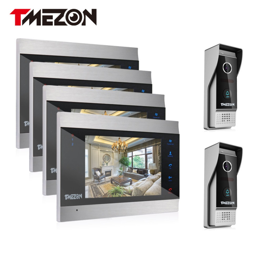 Tmezon Video Door Phone System 4Pcs 7 Color Monitor 2Pcs 1200TVL Outdoor Doorbell Camera Waterproof Auto-IR Night Vision 4v2 tmezon 4 inch tft color monitor 1200tvl camera video door phone intercom security speaker system waterproof ir night vision 4v1