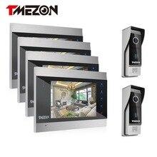 """Sistema de teléfono video de la puerta 4 unids tmezon 7 """"monitor de color de 2 unids 1200tvl cámara timbre a prueba de agua al aire libre auto-visión nocturna por infrarrojos 4v2"""