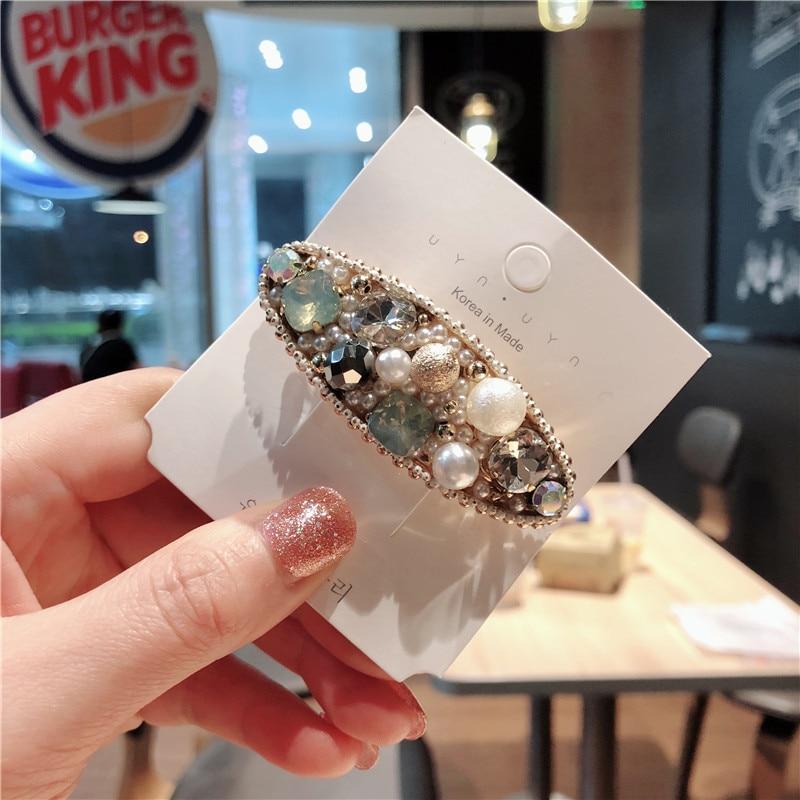 Korea Handmade Flower Crystal Pearl Hairpins Hair Accessories For Girls Diamond Hair Bows Rim Hairpin Hair Clips Barrette in Women 39 s Hair Accessories from Apparel Accessories