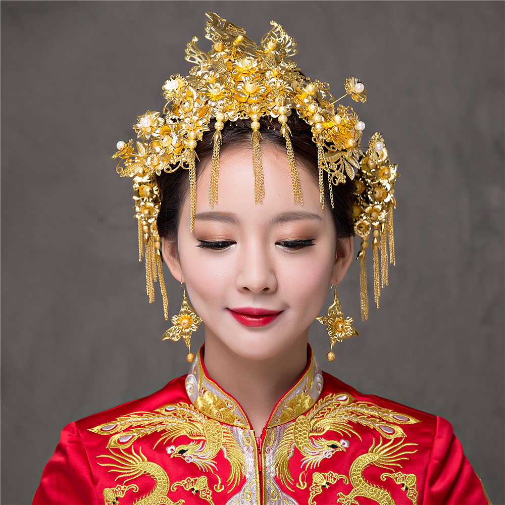 Chinese Style Vintage Wedding Hair Jewelry Gold Color Bridal Headdress Hair Accessories Combs Coronet Hairpins Earrings Tiaras