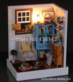 F001 Dawn Whispers ( including dust cover ) diy dollhouse LED light Miniature Living room doll house free shipping