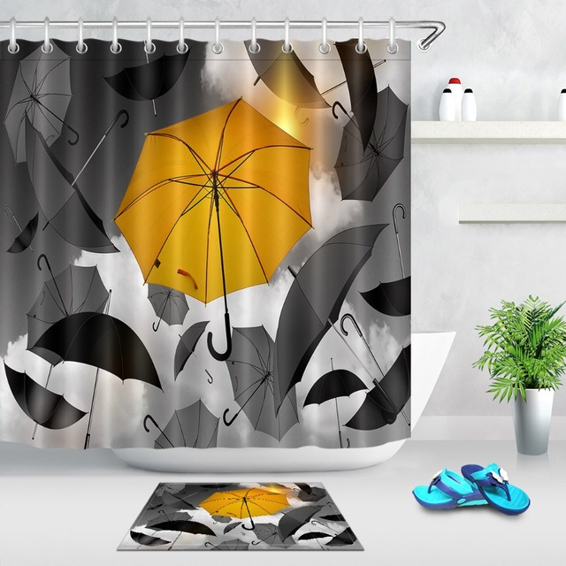 LB Black And Yellow Umbrella Shower Curtain Set With 12 Hooks Waterproof Polyester Fabric Bathroom Curtains