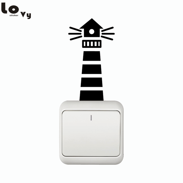 Seashore Lighthouse With Flashing Lights Switch Sticker   Beach House Decor/  Bedroom/Home Decor