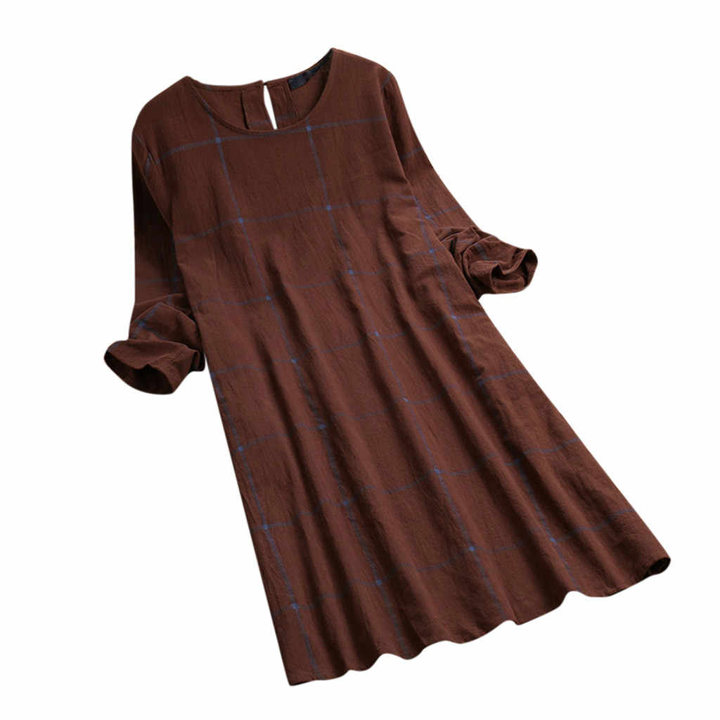 CHAMSGEND Dress Long Sleeve Dress Women Vintage  Loose Plaid O-Neck Button Summer Dresses Pure Patchwork Dress Vestidos 5.JAN.18