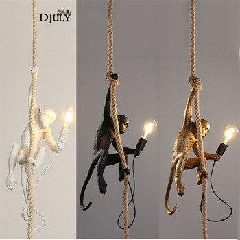 โมเดิร์นโมเดิร์น Art Deco ลิงเชือกเรซิ่นจี้ไฟสำหรับห้องรับประทานอาหารบาร์กาแฟ LOFT Decor แขวนโคมไฟ LED
