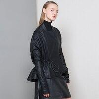 100% овчины куртка кожаные пальто 2017, Новая мода «летучая мышь» одежда с длинным рукавом Плиссированные Свободные Черная курточка классическ