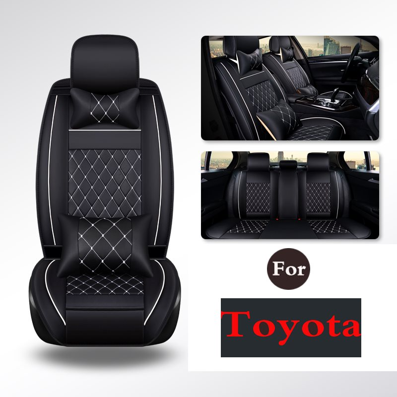 CAR PASS Leather Universal Car Seat Cushion pad Covers mats Set - For Toyota Highlander Camry Levin Yaris EZ Nv200