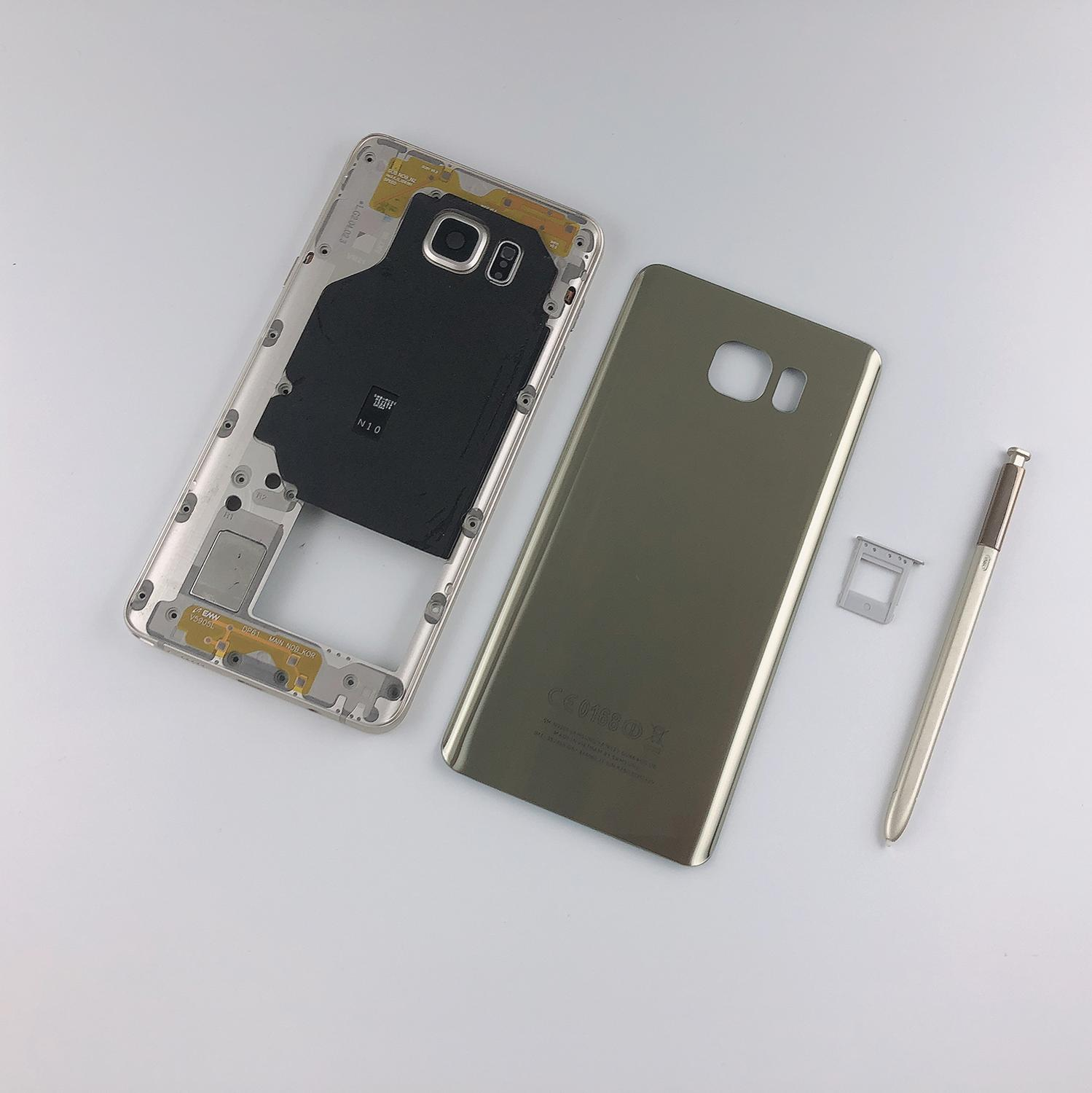 For Samsung Galaxy Note 5 N920 N920F Housing Metal Middle Frame+Glass Battery Back Cover+Pen+Sim Card Tray Holder+Sticker