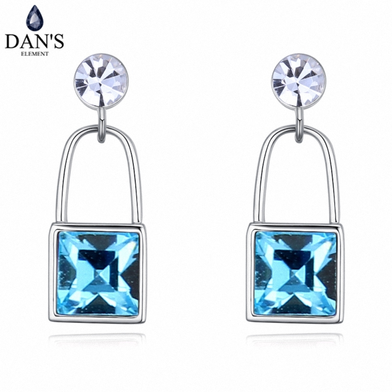 DANS 4 Colors Real Austrian crystals Stud earrings for women Earrings s New Sale Hot Round 128032